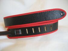 UNIQUE LEATHER BLACK SNAKE WITH RED BINDING GUITAR/BASS STRAP
