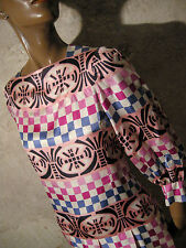 CHIC VINTAGE ROBE SOIE 1970 VTG DRESS SILK 1970s MOD GRAPHIC KLEID 70er (38)