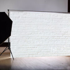 White Retro Brick Wall Vinyl Studio Backdrop Photography Photo Background 7x5FT