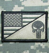 PUNISHER SKULL USA AMERICAN FLAG ARMY MORALE TACTICAL ACU LIGHT VELCRO PATCH
