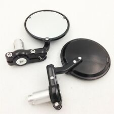 Bar End Mirror For Cafe Racer Clubman Biker Black Aluminum Round Motorcycle
