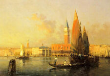 Oil painting cityscape A View of Venice from Isola di S.Georgio & sail boats 36""