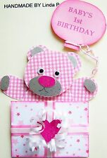3D BABY'S 1st BIRTHDAY CARD CRAFT TOPPER, EMBELLISHMENT  1STBD-GIRL