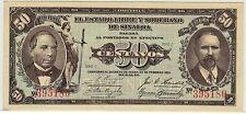 ESTADO LIBRE Y SOBERNO DE SINALOA 22.2.1915 50 CENTAVOS CU & 1 PESO CH AU