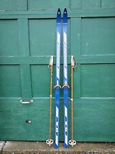 "VINTAGE Wooden 74"" Skis Has  Blue Finish Signed RANDONNEE + Bamboo Poles"