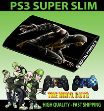 PLAYSTATION PS3 SUPER SLIM MORTAL KOMBAT X SCORPION SKIN STICKER & 2 PAD SKIN