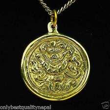 Buddismo Ciondolo D'oro Gioiello Amuleto in ottone felicità Simbolo a89