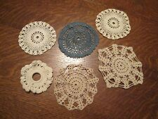 "(M) 6 Different Vintage Hand Crocheted Doilies, 5-4"" Diameter & 1-3"" Diameter"