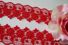 Amazing Red color Floral Venise Lace - price for 1 yard