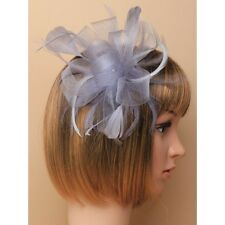 Party/Wedding Looped Ribbon Grey Large Flower Feather Fascinator Hair Comb