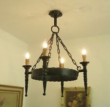 SUPERB WROUGHT IRON CHANDELIER GOTHIC CHATEAU LIGHT VINTAGE FRENCH 4 ARM
