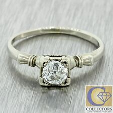 1930s Antique Art Deco 14k Solid Gold .50ct Old Mine Cut Diamond Engagement Ring