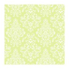 Wallpaper Designer White Damask on Bright Green