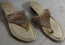 Vince Camuto Imombo Beaded Thong Sandals 8.5 M Cleopatra Gold
