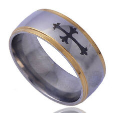 Mens Silver Gold Plated Pinky Vintage Bands Black Carving Cross Ring Size 10