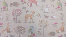 Woodland Animals Taupe Foxes Owls Rabbits Curtain Craft Upholstery Cotton Fabric
