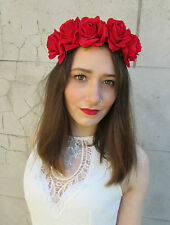 Red Rose Flower Headband Hair Crown Festival Boho Garland Vtg Large Big Lana O29