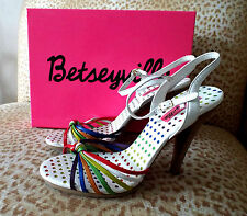 ***BETSEYVILLE Betsey Johnson Sz 8M leather SHOES multicolor!!