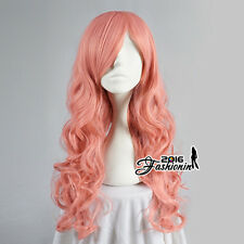 Party Long Girls Women Light Pink Curly Lolita Hot Cosplay Basic Style Hair Wig