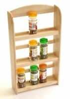 3 TIER RUBBER WOOD WOODEN HERB SPICE RACK HOLDER FREE STAND WALL MOUNTED 7518