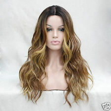 Heat Ok Ombre Dark Brown w/Medium Aubrun / Blonde Wavy Short-Lace Front Long Wig