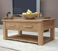 Eton solid oak living room lounge furniture storage coffee table with drawers