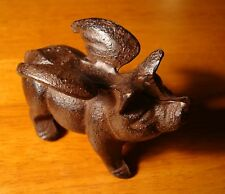 RUSTIC COUNTRY BROWN CAST IRON FLYING PIG FARM KITCHEN HOME DECOR - NEW