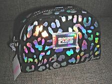 Victoria's Secret Pink Black Silver Leopard Travel Makeup Cosmetic Bag Purse New