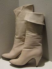 *Cream* LEATHER Boots Albrerto D Molina (Made in Italy) Vintage Sz 7 1/2B
