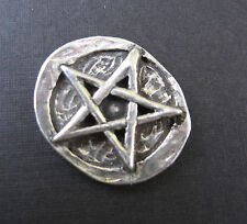 "Pentagram Pocket Stone 1"" Pewter Amulet Worry Token Altar Coin Wicca Pagan NEW"