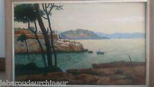 Peinture bord de mer 1952 signée Provence cote d'azur Superbe