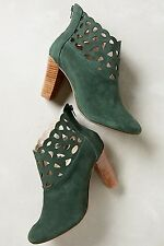 Anthropologie Klub Nico green suede Bea Scalloped Lacy Booties US 9