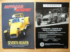 CATERHAM RACING 1999 UK Mkt Road Test Brochure +Price List - Super Seven 7 Lotus