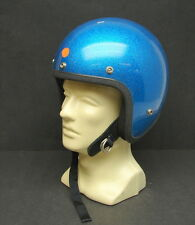 Vintage NOS Blue Metal Flake Glitter Open Face Motorcycle Helmet Small