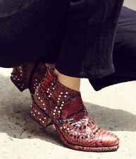 NIB  Free People red black Snakeskin Print Western Jewel Ankle Boots 38/ 7.5 -8