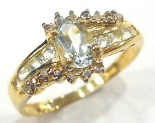 CHARMING 10KT YELLOW GOLD OVAL CUT AQUAMARINE & DIAMOND RING SIZE 7   R847