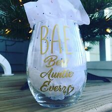BAE Best Auntie Ever 15 Ounce Stemless Wine Glass Birthday Sister Gift Aunt