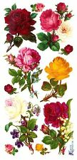 ~ Roses Flowers Floral Garden Posy Pink Yellow Craft Scrapbooking Stickers ~