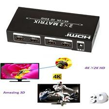 HDMI Matrix 2x2 Switch Splitter 2 In 2 Out Support 4K 3D with EDID Control C3M6