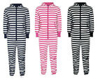 UNISEX NEW STRIPED JUMPSUIT HOODED ZIP ONESIE PLAYSUIT ALL IN ONE 4 SIZE 3 COLOR