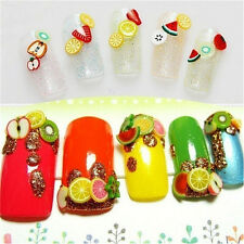 1000PCS 3D Fruit Animals Fimo Slice Clay DIY Nail Art Tip Sticker Decoration SK