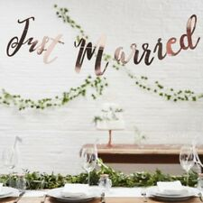 Just Married Rose Gold Bunting Banner - Ginger Ray Metallic Wedding Decor 1.5 m
