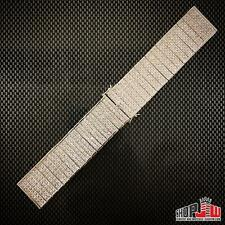 Mens 14k White Gold Plated Simulated Diamond Hip Hop Watch Band Bracelet 22mm