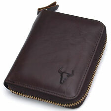 New Men's Vintage Zip Around Brown Leather Wallets Purse Coin Pocket