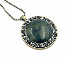 "Large Irish Connemara Marble and Mulling Pewter Necklace with 24"" Snake Chain"