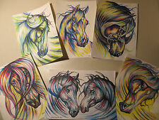 Original (6) Water Color & Pen Horse Paintings by Joanna Ulinska Lisowska