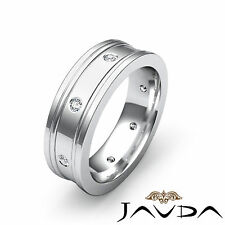 Mens Round Natural Diamond Eternity Wedding Flat Band Platinum Solid Ring 0.15Ct