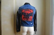DSQUARED² COOL STUDDED EAGLE PATCH WASH BLUE DENIM BLACK LEATHER JACKET 38 48 M