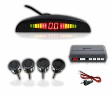 Zento Deals 4 Black Vehicle Reverse Backup Sensors Radar LED Alarm Parkin System