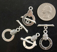 24x15mm Silver Pewter Toggle 4 pairs (SP70)a ~ Lead-Free ~